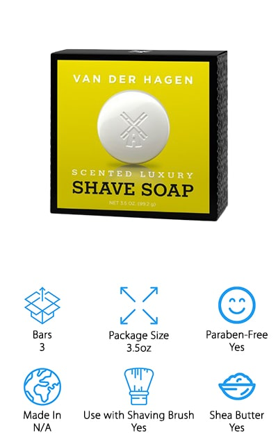 Van Der Hagen is the company behind this luxury shave soap that comes in a pack of three. Each of those three bars is 3.5 ounces, so this is a great value when it comes to shaving soaps. They are hypoallergenic and made with more than 10% glycerin to help soften and moisturize your skin. It also softens up the coarser hairs on your face. In fact, the way that it works and the amount that you get makes this one of the best shaving soaps for head use, if you're looking to get a clean, polished shave. It's made with vegetable-based ingredients and is made cruelty-free so you can use it with a clean conscious. When you want greatly-improved razor glide and smooth, soft skin left behind, go with this Van Der Hagen luxury soap. It's made with hydrating Shea Butter and performs best with a shaving brush. We know that you're going to love it!