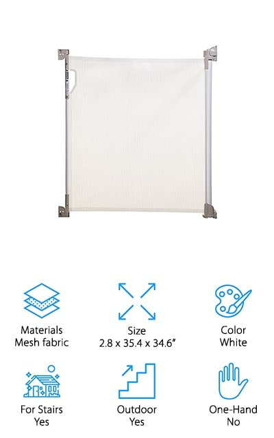 Finally, Bindaboo makes this mesh fabric retractable gate in white. There are other colors available if white doesn't fit into your décor. It can fit openings up to 55 inches across, from narrow openings to wider ones. You can use it in your doorways, hallways, and on your stairs for the best results. When you don't need it, it can retract out of your way so you can move freely between rooms without the inconvenience of a metal trip bar. The mesh is durable and great at resisting damage from pets and children. It includes spacers for the moldings along your baseboard and comes with two sets of mounting hardware. You can take the gate off of one mount and put it on another for maximum portability and ease. Plus, it's super easy to install once you receive it, and you can use it both indoors and outdoors safely! It doesn't get much better than this.