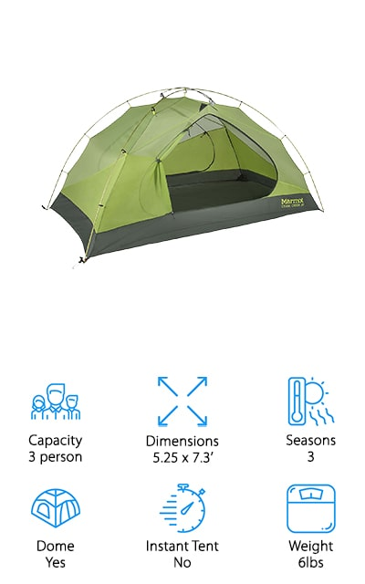 If you're going on a backpacking trip or a through-hike with a partner, this is the tent you're going to want to get. The maximum weight (with all components, just in case) is 6 pounds. You can easily split this between two people if that's too much for one to carry on their own. Inside is 42 square feet of waterproof shelter that will hold up to the elements. You can open both D-shaped doors to ventilation, or keep them closed with the rainfly closed to keep heat in when it drops off at night. The poles are heavy-duty aluminum, and there are two overhead vestibules under the rainfly for all the gear you can't fit inside. It's the best 3-person waterproof tent that we found during our research. It's great for car camping as well, and you're going to love how warm and cozy it keeps you. The bottom is extremely durable, so a footprint is optional.