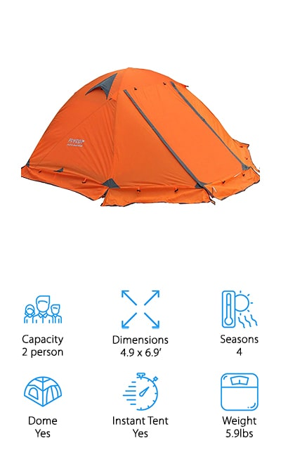 This freestanding tent by Flytop is one of the best waterproof tents for camping that we found. It's great for four seasons, though we recommend for the sake of comfort avoiding camping when it's too cold. Still, this tent will keep you dry and out of the elements if that's something that you want to do. There are two entrances so you don't have to crawl over your tent partner to get outside. Plus, they provide excellent ventilation for warmer days. It's an extremely lightweight tent that you can take on your backpacking trips and for long through-hikes because it only weighs about 6 pounds. For two people, that's pretty light. Even if you just have a large dog, this tent will come in handy with plenty of space for both of you. The mesh wall panels keep bugs out and help keep heat in, and the rainfly has plenty of guy-out points. It's great for windy days!