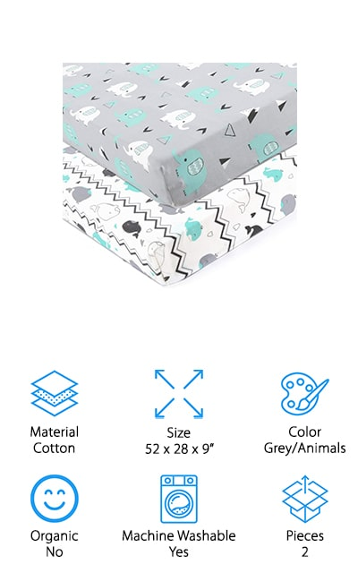 Brolex Crib Sheets Set