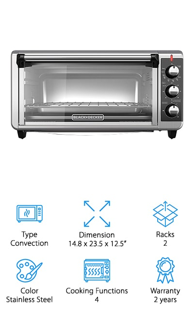 "This Black and Decker countertop oven 12 pizza capacity is something you won't want to miss because it can cook anything that you want in just about any style. It's an 8 slice oven and large enough to fit your 9""x13"" pans for casseroles and more as well. On top of that, you can put most of your pans inside here and you can use the included pans if you're not sure. Designed to circulate warm air all the way through to keep the cooking even, it can also toast, bake, broil or just keep your food warm. This oven is designed in a sleek black and stainless steel to make a perfect look on your counter. It also has a 60-minute timer that will allow you to keep it on when you need to bake something even longer. On top of that, the racks connect in 3 different locations to cook larger dishes."