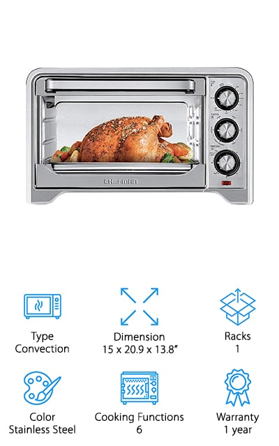 You'll have 6 different features available with this toaster oven, which allows you to bake, toast, keep warm, defrost and broil as well as convection baking. On top of that, you can adjust the temperature from 200° to 450° for your own specialty cooking or settings. The 30-minute countdown timer has a bell to let you know when your food is done and the crumb tray makes sure you have an easier time trying to clean things up when you're done. With this system, you can even put the crumb tray, the baking tray and the wire racks directly into your dishwasher to make the process even simpler for you and to make sure you're ready for the next time you want to use it.