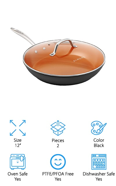 Almond Ceramic Copper Pan