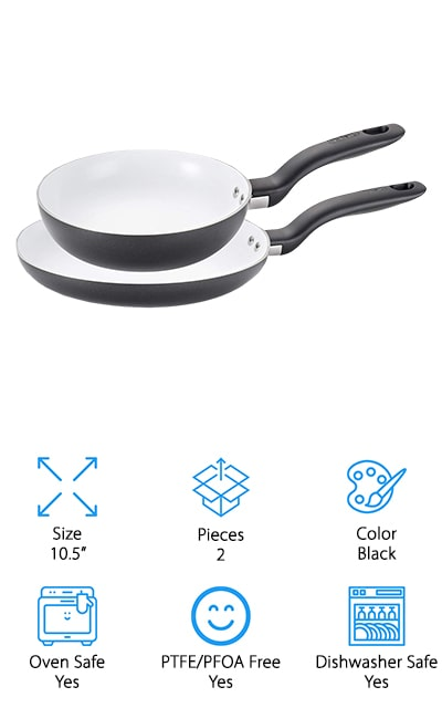 These ceramic pans are available in 2 different colors to make sure they fit the look and style of your kitchen, but even more importantly they're PTFE, PFOA, and cadmium free. They're also scratch resistant, so you can use all of your normal utensils without having to worry about a thing. On top of that, you can put them directly into the oven or into the dishwasher to get them clean and ready again. The ceramic surface can actually be heated all the way to 570°F, but the pan is rated oven safe up to 350°F. You'll get 2 pans included here, so you can cook a wider range of different foods, and you'll be able to keep them nice and free from staining as well. That's because they're designed to repel stains, even while cooking your messiest dishes.