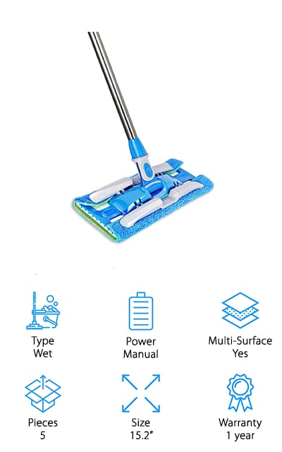 Here we have maybe the best wet mop for laminate floors, with a full kit of everything you're going to need. It has a stainless steel mop handle that's designed not to rust and it adjusts, so you can get it to the right height for you. You're also getting reversible mop cloths and mop pads that help you clean all of your hard surface floors. Designed to get under furniture and appliances and even right up next to the corners and baseboards, this mop is lightweight and eco-friendly. The microfiber pads are even washable and reusable. You get a full guarantee with this product, that says you'll be happy with how it works for you or you can get a full replacement. The high absorption and the 360° rotation means that it can take care of just about anything you need.