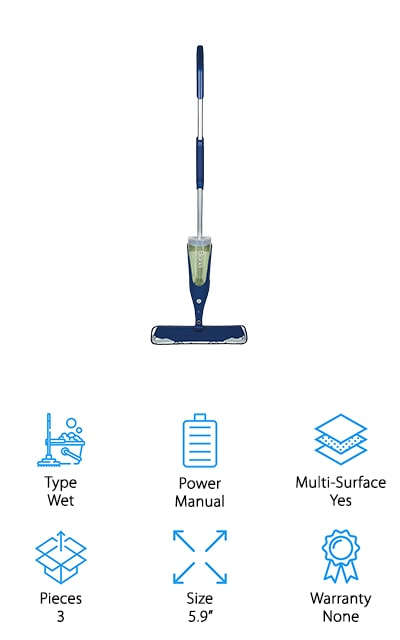 This Bona laminate floor mop is actually a Bona stone tile & laminate floor mop because it can do just about anything. It's already ready with the cleaner you need for just about any of your hard surface floors (other than hardwoods) and it's super easy to fill when you need to replace the cartridge. The microfiber pads are machine washable, so you can use them again and again. That means it's more eco-friendly than some of your other steam cleaner or mop options. With this system, you get a large base that gets into corners without hurting your furniture or your baseboards. You'll also have flexible corners that reduce impact. Overall, you're going to have no problem getting into anything you want to clean.