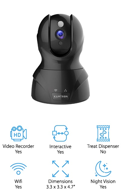 This might be the best pet camera app that allows you to get connected any time of the day or night. It has night vision and has vertical and horizontal rotation so you can get a good view of any part of your room with no problem. There's smart motion detection alerts and 2 way audio so you can communicate through your pet camera with speaker. You'll also get motion alerts directly to your smartphone that let you know if anything is going on at your home. There's cloud storage for the video recordings and the entire device only needs wi-fi in order to run so you can set it up and be ready in no time at all. The video also has full financial encryption so no one else will get access to your device or recordings.
