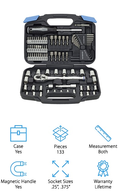 This isn't just a metric mechanic tool set but also a standard tool kit. It comes with over 100 pieces that include ratchets, sockets, extensions, adapters, screwdrivers and a whole lot more. You'll have 2 of the most common socket sizes and you'll have a lifetime warranty that lets you know you're getting something you can count on. This professional quality mechanic's tool set even comes with a case so you can take everything with you wherever you need to go. You'll have magnetic pieces that can help you pick up anything you might drop and you'll have an inexpensive system that can definitely work for you to get started on your own mechanic work. You'll even be able to do some basic work around the house.