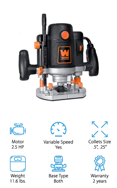 """This system is a variable speed, plunge router that also works as a fixed router, so you can get the versatility that you want. It has a 2 ½ horsepower motor and collets of ½"""" and ¼"""" so you get the versatility that you're looking for. This moderate weight router can get RPM from 8,000 all the way to 23,000 so you get to set it the way you want it to work for any project. It's also complete with a 7 stop turret that has macro and micro adjustment dials. You'll even get a carrying case included with this set and you'll be able to use the multi-function fence and template guide as well as the circle-cutting pin and the fence scale to get the job done right the first time. Add the dust collection duct and you've got something even better."""