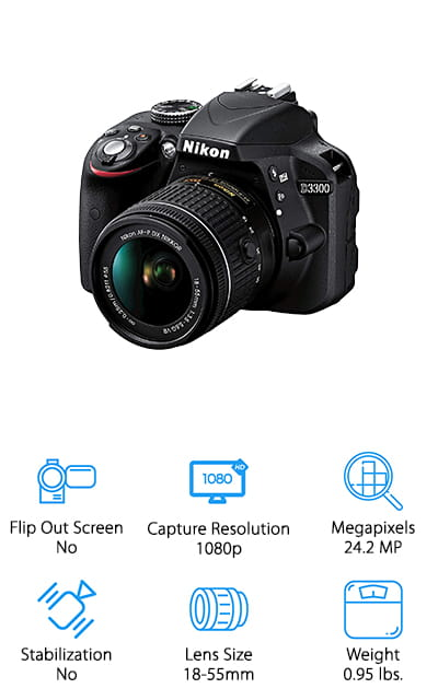If you want to take an inexpensive camera with you on your next vacation, the Nikon D3300 shoots great HD video and photos without spending a lot! This 24.2-megapixel camera shoots beautiful photos, with an ISO range of 100-12,800. You can shoot on a sunny beach or dark rainforest without sacrificing quality! It also shoots high-quality 1080p video with sound, so you can capture the moment with stunning clarity and color! It's also Wi-Fi compatible, so instead of carrying around a bunch of memory cards while traveling, simply transfer photos and videos to your smartphone, tablet, or laptop to store them or share with friends! No worries about losing those tiny memory cards! We also like that this camera's functions are simple and easy to use, and it's also incredibly lightweight, so it won't drag you down or add too much weight to your luggage! This affordable camera will be a lot of fun to take on your next adventure!