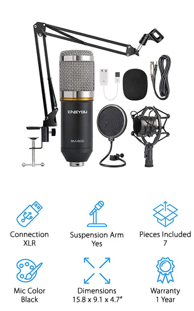 Last up is one of the best music recording microphone kits out there for musicians, singers, and podcasters that won't break the bank! This kit has everything you need to get started on your next demo tape, podcast, or YouTube video! It comes with a high-quality condenser microphone, arm stand, shock mount, windscreen, anti-wind foam cap, XLR cable, sound adapter, and all the hardware to set it up! This is a great kit for recording vocals and instruments because you move the microphone to the sound, not the other way around! It's also good for podcasts, especially if you have several hosts or guests – just swivel the microphone their way! The small microphone is also great for traveling, whether it's for remote interviews, travel podcasting, or even field recording! We think this would make a great gift for someone who wants to start their first podcast or learn to record themselves singing, playing an instrument, or streaming while gaming!