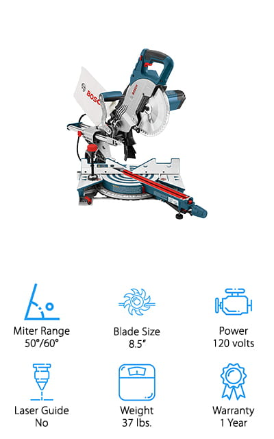 Next up in our search for the best dual bevel sliding miter saw is this professional quality miter saw from Bosch! This brand is well known for making amazing quality power tools for professional construction workers, woodworking enthusiasts, and ambitious homeowners alike. If you're looking to upgrade to a powerful, yet compact saw for accurate, clean cuts every time, this is the saw to get! You can use this to cut large pieces of wood, thanks to the expandable base extensions that allow for up to 29 inches of extra workspace. Miter and bevel cuts are incredibly easy to create, and the clear blade guard makes sure you can clearly see exactly where you're cutting. We also like how easy it is to carry this saw around from the convenient top handle – and at only 37 pounds, you can easily move it where you need it! This is a high-quality miter saw that you will enjoy using for years!