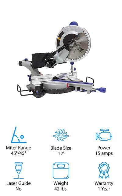 Last up in our hunt for the best rated sliding miter saw is this powerful and easy to use saw from the brand WEN! You can use this sliding miter saw to tackle a wide variety of home and professional woodworking projects, from installing your own wood flooring and molding to building your kids a new tree house in the backyard! This saw cuts wood up to 3.5 inches thick and 11.75 inches long, plus it can get you accurate bevel and miter cuts for professional-looking results! It's easy to slide the blade to where you need it or make angle adjustments quickly, and there are 9 table stops on both sides for the most common angled cuts. We like that this saw also has extendable extensions that give you up to 32 inches of extra support for heavy and large boards. The dust bag keeps cleanup a breeze, and it is lightweight enough to carry from room to room!