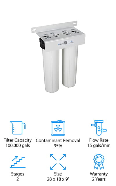 Another favorite of ours for the best whole house water filter for hard water is this 2-stage system from Home Master. This would make a great companion for your current water softening system, filtering the water to ensure your softening system stays clean and in proper working order for years to come! This first stage of this system removes sediment, silt, rust, and other large particles that affect the look and cleanliness of your water. The carbon filter is made of coconut shells, and it eliminates up to 95% of contaminants like chlorine and unwanted chemicals, leaving your water odorless and tasting clean! We also like that the filters on this unit are extra large and it uses 1-inch connections, so you can filter the water throughout your whole house without losing pressure! The larger filters can clean up to 100,000 gallons of water, which for a family of 4 should take about a year before needing to replace them!