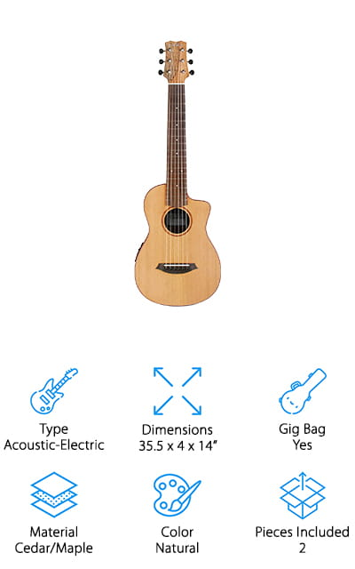 Another acoustic-electric travel guitar that's great for taking on the road is this one from Cordoba! We like this travel-sized guitar because you can use it as a traditional acoustic, or hook it up to a speaker to blast it for your friends, audiences, or for fun! The body of this guitar is mainly maple, giving it a rich sound that's impressive for something this small. The strings that are included are tuned to A, but you can also buy strings tuned to E if you don't want to make the adjustment to your playing. We also like that the Mini SM-CE guitar is easy to play, thanks to the string spacing and neck size being similar to a regular size guitar. You won't have to adjust how you play because it feels just like playing your favorite guitar at home! It comes with a nice gig bag with a pouch in the front for extra picks or sheet music!