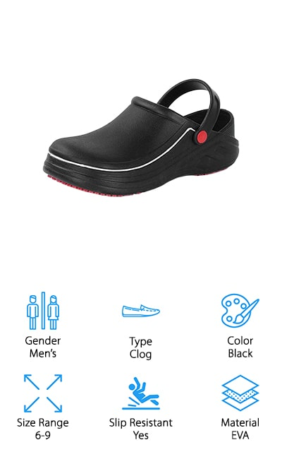 Fanture makes some of the best chef shoes that we could find. These shoes are specifically for men for use in food service positions, hospital or clinics, or any other position that requires you to spend long hours on your feet. They have a slip-resistant sole so they don't slide around on a polished floor or in a slick kitchen. The insole is a non-slip, comfort insole that is breathable and will keep your feet dry and comfortable. The enclosed toe cap is sturdy and gives you much better protection against drops and spills than regular toe areas. You can use these shoes anywhere – from camping to the beach, walking around in your home or garden, or even hiking and hunting. They are truly multi-purpose shoes that the chef in your life will greatly enjoy. These are black and come in men's sizes 6-9 currently, so check them out! They are extremely lightweight as well.