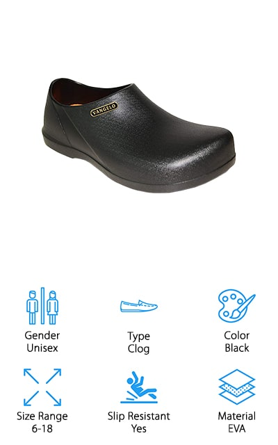 VANGELO makes these slip-resistant EVA clogs that you can wear all day long at your restaurant! These slip-resistant clogs are made to the industry standard and endorsed by chefs in the White House. That means that these are some amazing shoes! The EVA foam body is so lightweight that you won't feel like there's anything on your feet at all. The outside sole is shaped in such a way that it works to channel fluids away, meaning that they won't create a barrier between your shoe and the floor. You'll get more traction this way and stay on your feet. They come in men and women's sizes so you can get the perfect fit, and they are washable on the inside and outside to keep them looking and feeling great. The removable Ortholite insoles are supportive and comfortable even after wearing them all day long! You're going to love these shoes for food service or healthcare.