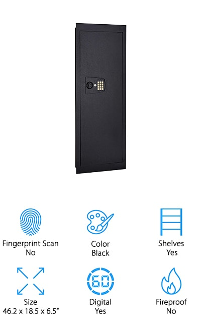 "Last on our list of the best-rated wall safes is this one from Snap Safe. It's made of 16-gauge steel on the body of the safe and a .15"" steel door to make sure that everything inside is always safe. It features electronic entry with a key backup so that you will always be able to get into your safe. To run the electronic entry section, you need batteries that don't come in the package. There are three removable shelves inside the safe, giving you plenty of room to store all of your documents and valuables. Since this is an in-wall safe, you get the added benefit of being able to hide it behind furniture or pictures so that no one even knows that it's there. When you want to take charge of your own home security, look into getting a SnapSafe. It's easy to install and you definitely aren't going to regret your purchase."