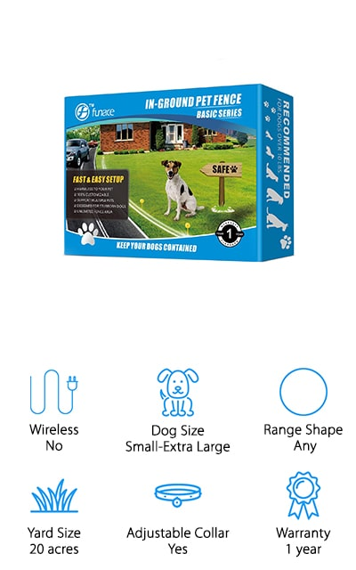 FunAce's Radio Wave system will expand to support as many collars as you need it to so that you can train all of your dogs at once. Don't worry about them getting off of your property or bothering the neighbor's cat again! You can bury the wire in any shape to cover up to 20 acres of your property when all is said and done, though of course it only comes with the wire to cover a smaller space. You will need to purchase additional wire to expand it like most of the other fences on our list. The receivers can be attached to your dog's collar, and they are waterproof up to 10 feet. If your dog loves swimming, your receiver won't be affected. If you have a stubborn dog that often takes trips out to the road, install this fence to keep them safe! You'll have peace of mind knowing they are right where they need to be.