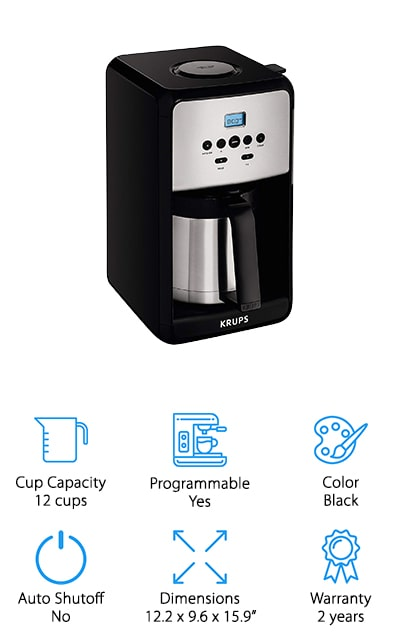 KRUPS makes this 12-cup coffee maker with a thermal carafe that will keep your coffee nice and warm for up to four hours after you've brewed it. It has a programmable digital clock so that you can set up auto start for first thing in the morning. You can brew at whatever strength you prefer, and you can even set it to make between 1 and 4 cups as well for a smaller serving size. You set the strength and other options with a combination of the LCD screen and a single rotating knob, so it's easy to use as well. If you just can't wait, you can use the pause and serve feature that will halt brewing until it's replaced. It even comes with a cleaning function for descaling, so that you can select when you're cleaning and it will adjust accordingly.  This coffee maker is the perfect gift or addition to the kitchen of your favorite coffee enthusiast.