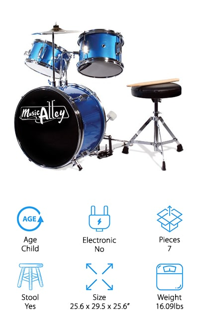 Every great drummer started somewhere, and that's where this drum set comes in. It's suited for children between the ages of four and seven and comes with a bass pedal, different drum types for different sounds, and two hanging cymbals that shouldn't be tightened. It also comes with a stool so you can sit to play your drums and a pair of drumsticks that are lightweight enough for children to use. This drum kit is for smaller children, but it can definitely start to foster a love for the instrument. And who knows, they might become part of the next huge band to sweep the world! It comes in the beautiful blue color and it also comes in black, so you can choose the one that your child will appreciate the most. Everything that you need to get started right after assembly is right in the box, so you won't have to run out and buy anything additional.
