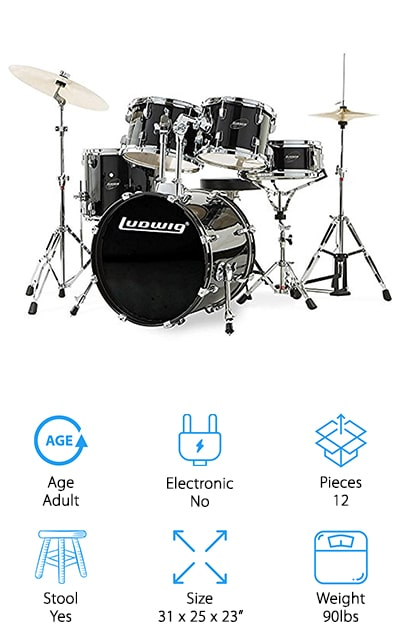 This adult drum set is absolutely massive and comes with a wide variety of drum surfaces, cymbals, and other gear to give you everything that you need to start playing right away. It comes with a bass drum, a snare, floor top, and two different-sized mounted tom. It comes with the stool that you'll need to sit and play, as well as a variety of cymbals and a rack to put them on. If someone in your life wants to start learning how to drum, choose one of the best cheap drum kits that comes with absolutely everything they could need to get started. They might upgrade their kit later, but they will always remember how much they adored their first complete package. And that isn't to say that this set is anything less than a high-quality masterwork instrument, because it is made very well and everything is extremely high-quality. It's a value and it's well worth the money.