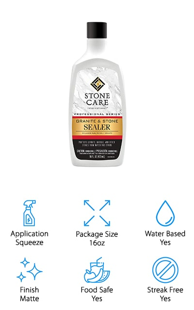 Lastly, we have Stone Care's International Sealer. You can use it on marble, granite, quartz, and all other naturally porous stones to achieve a matte finish that won't' affect how the surfaces look. It's a streak-free formula, and by the end of your application, you'll have a beautiful natural surface that you know is well-preserved against stains and damage. This 16-ounce package is ideal for covering about 48 square feet, so make sure that you're using enough product to get the formula to penetrate. It's a streak-free formula so your counters should look amazing again! This sealer is food safe and should be used every six months for the best results and the most complete seal. You definitely want to protect your investment, whether you're using the sealer on the inside or the outside for your marble. Don't let it get damaged beyond repair when you can seal it properly with Stone Care International Sealer!