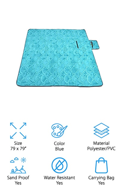 ZOMAKE makes this waterproof beach blanket that will keep you dry even on wet ground. There are three layers to this blanket, including a sturdy polyester on the top, a sponge middle for comfort and warmth, and a PVC bottom to protect against water, sand, and ground cover. It's insulated from even the most penetrating of moistures, and you can just wipe it clean when you're finished with it. Keep it in your car or toss it into your hiking backpack to keep it in reach when you need it. You can use it in a ton of different situations and scenarios where you would definitely benefit from having it on hand. It's compact and has a carry handle so you can easily move it from one location to another, and the top is soft and comfortable for lounging on. We love that when you're done with this picnic blanket, you can just shake it out and fold it up!