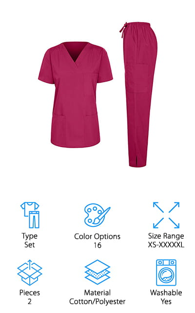 Another good option if you're looking for khaki scrubs for women is this set from iliad USA. The cotton polyester blend material is durable and machine washable to tolerate anything they'll come in contact with during a busy shift in the hospital or at the lab. The colors of these scrubs are deep and saturated and one of the best things about them. In addition to khaki, they also come in muted colors like black, grey, and brown as well as eye-catching bright colors like orange, red, and sky blue. The top features a classic V-neck style with a chest pocket and 2 lower pockets while the pants have 2 side pockets and a cargo pocket on left leg. One more thing, the pants have both an elastic waistband and a drawstring for the perfect fit.