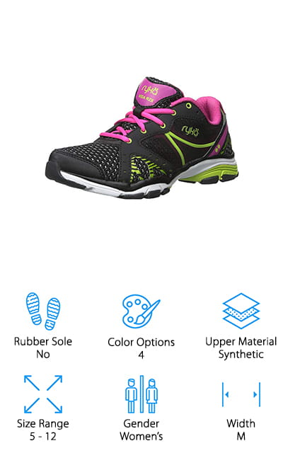 Another pair of the best cross training shoes for flat feet women's needs is the RYKA Vida RZX Cross-Training Shoe. The lace-up design features breathable mesh underlays with large overlays running down each side of the foot. There's a tie closure to make sure you get just the right amount of support and stability. The padded tongue and collar are really comfortable, too, and the precise-return footbed is perfect for low arches. Because these shoes are specifically made for women, they were designed with a narrower heel, larger forefoot, and a more secured footbed for targeted support. These shoes are available in sizes 5 to 11 and are available in 4 different color schemes. All of them are really bright and have colors that pop. This shoe will surely get you noticed.