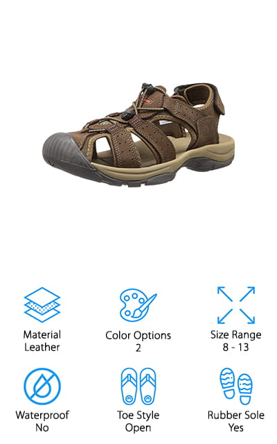 Another great pair of sporty sandals is the Northside Trinidad Sport Sandal. They feature a 100% leather upper with perforations to promote airflow. The leather material is durable and pliable so it molds to your foot over time. That's not all, there's also a bungee cord vamp that's easy to adjust and a hook-and-loop backstrap to make the adjustments you need to get the perfect fit. There's an EVA midsole inside that's adds cushioning support plus toe guards and a durable sole for traction during outdoor adventures on any terrain. These shoes are not waterproof but they do dry very quickly. They're a reliable pair of sandals that have the feel of hiking shoes while still maintaining the look of a true sandal. You can get them in brown or gray and they come in sizes 8 to 13.