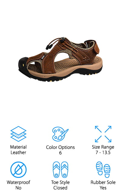 Our last pick is this pair of sandals from rismart. These are a great pair of closed-toe sandals that feature a high-grade layer of cowhide leather that's soft and smooth against your skin. They have a really interesting design that features a slightly off-center top strap with an easy-to-use bungee closure at the top front. There's also a strap that goes around the back of the ankle with a Velcro closure so you can adjust for just the right fit. The rubber sole is durable and skidproof which makes it great for light trails, hiking along the beach, or even wearing to run errands around town. They're not rated as waterproof but they do dry pretty quickly. Plus, you can choose from 6 different color combinations including brown, navy blue, brown, and grey.