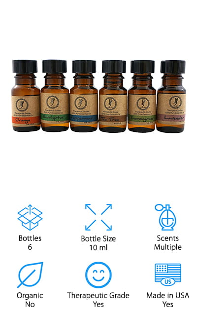 This Pure Jolly Essential Oil Kit is a great set if you're looking for fall smelling essential oils. It includes warm, spicy scents like lavender, tea tree, eucalyptus, peppermint, lemongrass, and sweet orange. Each is 100% pure, therapeutic grade and contains no additives or fillers. Quality essential oils can degrade if they're exposed to direct sunlight which is why each scent comes in a 10 ml bottle made of amber glass block out the UV rays. You can use these oils in aromatherapy with vaporizers or diffusers or mix a few drops with massage oils or carriers and apply directly to your skin. This is a great kit for beginners and would make a nice gift. One more thing, Pure Jolly offers a 100 day no hassle 100% money-back guarantee.