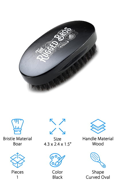 The Rugged Bros makes one of the best boar bristle beard brushes we found during our research. Instead of being a flat brush that you have to move to get complete contact with your face, this brush is curved on the top and over the bristles. This allows it closer contact to your face and a natural fit in your palm so that you can easily and effectively style and shape your facial hair. The bristles are 100% wild boar, combining long and short hairs for maximum contact with all parts of your beard. It has a strong grip to help straighten your beard hairs. It's a great gift, with natural wood handles and a beautiful finish. It's one of the fanciest brushes we could find, and we're sure that you're going to love it. They use no nylon or plastic bristles, either – all of the bristles are naturally-sourced for the perfect beard brush. Your mustache will be happy, too.