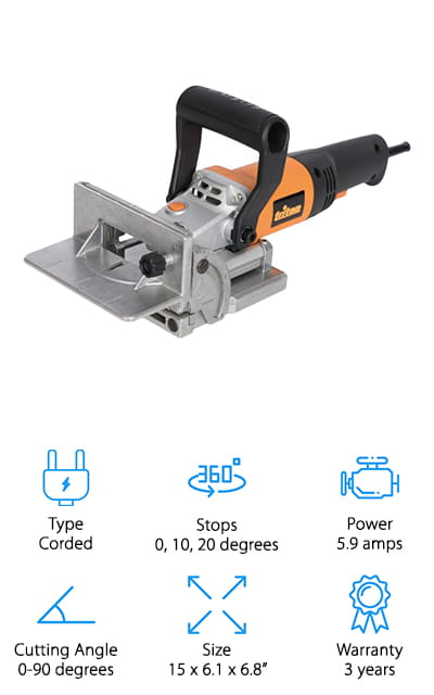 Last on our list is this small but mighty Triton biscuit joiner. It has a max cutting angle of 90 degrees, and a 6-position turret stop so you can choose the exact size of the biscuit you're joining. It has a hinged bass so that you can easily change and clean the blade, as well as a dust port for keeping your work area clean as you go about finishing your projects. It puts out an incredible 760 watts to keep your joining job looking great so you can finish fast. It comes with insulated handles that won't get warm, as well as non-slip pads and a removable fence for closer work. It comes with all of the tools you need to change the blade, as well as a custom-fitted blade, brushes, and a dust bag to help you clean up after your projects are all finished. Get the strongest joints for your furniture and shelving with this joiner!