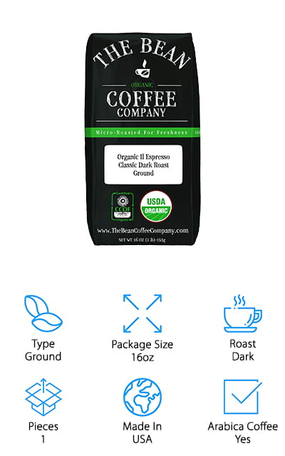The Bean Coffee Company makes this Organic Espresso in a dark classic roast with a full-bodied taste. This 16-ounce bag of ground espresso coffee is made from 100% Arabica coffee that's been roasted in the USA. The company is known for roasting their organic beans in smaller batches and grinds them the at the peak of the cycle. This means that the natural flavors, antioxidants, and freshness are at their peak, too. When you put it into your espresso machine, it's going to be the best that it can be. The Bean Coffee Company recommends storing your coffee in an airtight container where no light, heat, or moisture can get to it. This allows you to keep your coffee fresh and ready for making espresso whenever you need it. Did we mention that it's completely organic? All of the Arabica coffee used here is organic, so if that's important to you, you need to check this coffee out!