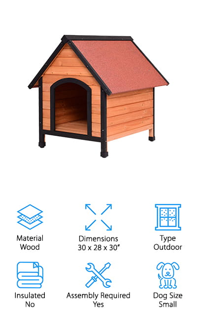 Tangkula makes one of the best dog houses for cold weather that we could find with this wooden house. It's got plenty of room for small dogs to lounge. It has a reddish brown design that will look great in your backyard or garden. The roof is made of asphalt, rain resistant and great for keeping your dog warm and dry. The floor is raised to prevent moisture from seeping into the doghouse and making your pet uncomfortable. It is made of fir wood, and the insulating properties of the wood make it one of the best dog houses for cold weather – especially if your winters are warmer than most. The outside is painted with a water-based paint that is safe for your dogs. It's easy to put together, and there are only a few tools needed. The best part is, they are included with the house so you will have everything you need.