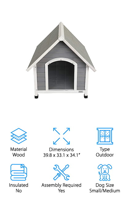 This Petsfit Wooden dog house can easily be paired with the best dog house heater that you can find to make a cozy winter home for your dog. It's sized to be the perfect companion for small or medium-sized dogs and includes a door flap so that your pet has a comfortable, private environment. It's grey on the outside, with a water-based paint that is safe for your dogs and the environment. The slanted roof makes sure that rain slides right off, and it's reinforced with asphalt to make sure that no rain gets inside to make your dog's home uncomfortable. This is a nice house that you can easily make into a warm little oasis for your dog in the winter months. Plus, the natural cedar wood smell will smell amazing to the both of you!  It even has plastic feet that you can adjust to keep the house off of the ground. That's amazing!