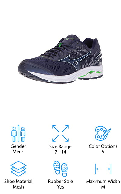 The Mizuno Wave Rider Running Shoe is up next. While you may not have heard of this brand, it's been around since 1906 and has a lot of experience making athletic shoes that are engineered for breathability, movement, and hold while you run. One of the things that we liked best is the way the upper is designed. It's really flexible and moves with your foot while still providing the necessary support. Inside, you'll find the brand's Wave cushioning technology which is designed to be softer with an enhanced responsive feel. There's also a soft sock liner that moves with your foot and provides additional arch support. They're available in 5 different colors that give you a nice selection of muted neutrals like gray and navy and bright pops of color.