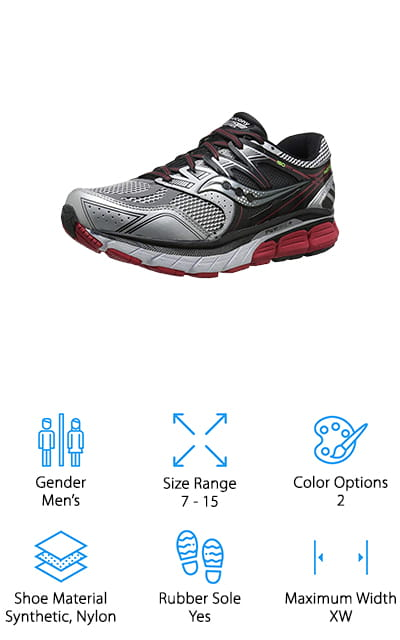 Last up in our reviews is the Saucony Redeemer ISO Road Shoe, one of the best shoes for treadmill running. A synthetic and nylon upper provides support around the entire foot while still allowing air to flow through. Inside, PWRGRID+ system provides 20% more cushioning than previous versions of the shoe. This makes the shoe more comfortable and more durable. One of the great things about these shoes is how much support they provide. TPU pillars provide additional structure to the midfoot without making them bulky and they're a great choice for anyone with flat feet who over-pronates. That's not all, because of the wide platform design they can even accommodate orthotic inserts. These shoes are available in sized 7 to 15 and come in medium, wide, and extra wide.