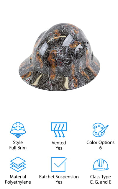 If you've been waiting for a cool hard hat review, you're in luck because by far the coolest product we found is the RK Safety-SKULL Hard Hat. It's available in 6 different patterns, including pixelated camo, American flag and eagle, skulls, wolves, and more. But this hard hat does more than just look cool. It's also a type 1 helmet that meets safety standards for classes C, G, and E so you can use it for a wide range of different jobs, including those with electrical hazards up to 20,000 volts. The 4-point ratchet suspension is easy to adjust and is actually replaceable if necessary. This hard hat is vented to allow air to flow through which makes it a good choice for hot weather, too.