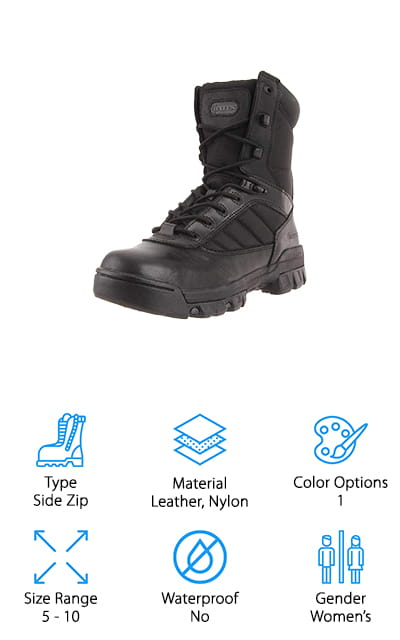 Bates Women's Ultra-Lites Boot is the brand's top-selling black boot for a lot of reasons. It's made of leather and nylon that are supportive, durable, and easy to clean. There's also a YKK side zipper for easy on and off and adjustable to get the proper fit. Inside, a cushioned removable insert adds comfort and an EVA midsole delivers stability and support. That's not all, it's lined with a moisture-wicking mesh lining to keep your feet dry and comfortable all day long. The rubber outsole has deep lugs for grip and is slip resistant which makes it ideal for just about any surface. It's all held together using cement construction for a lightweight, durable, and flexible fit. While they're not waterproof, they do hold up well against wet weather and dry quickly.