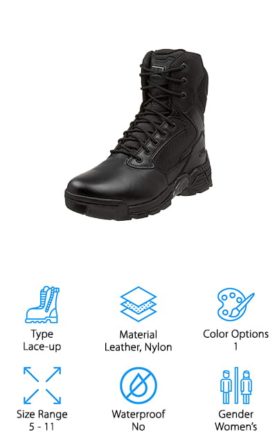 Last up in our list is the Magnum Stealth Force 8.0 boot for women. With a polishable full-grain leather and durable nylon uppers, these boots were made to stand up to even the toughest conditions. This is a lace-up design so you can make fine adjustments to get the perfect fit for proper foot and ankle protection. The memory foam sockliner and moisture-wicking lining are really comfortable and the gusseted tongue and padded collar provide extra cushioning and protection. That's not all, there's also a composite shank for support and stability. These boots are water resistant and ASTM rated for electrical hazard protection and the rubber outsoles have deep lugs to help keep you moving on any terrain. One more thing, they aren't any metal components so they're metal detector safe.