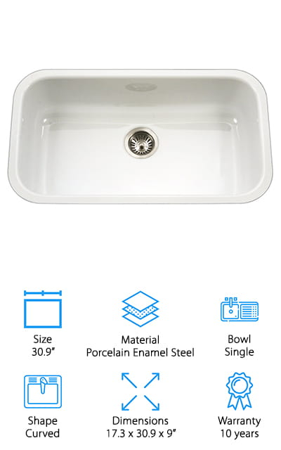 The Houzer Porcela Series Kitchen Sink is as close to a 30 white undermount kitchen sink as we could get in our reviews. The external dimensions of 30.9 x 17.32 inches and the bowl is 28.75 inches long with a rectangular shape with noticeably curved interior edges. It's made of white porcelain enamel steel which gives you the look of high-end cast iron with all the benefits of lighter materials. It's easy to install plus it's resistant to chips, stains, and scratches. The surface has a glossy finish that's non-porous and easy to wipe clean and has a standard drain opening that fits most garbage disposals. One more thing, there are natural rubber Super-Silencer pads underneath that do a great job of dampening the sound.