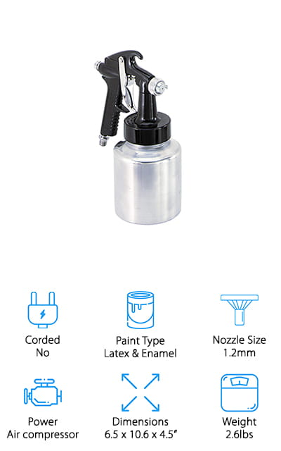 Campbell Hausfeld makes this latex and enamel paint spray gun. You can also use it to spray lacquers, stains, and primers to prepare what you're working on for the heavy-duty paints. You can control the flow rate via the fluid control knobs so that you always get a clean spray with minimal overspray. You can easily convert this amazing air-powered spray gun from a bleeder to non-bleeder style so that you can use it with a wider variety of air compressors. You can use paint tanks and remote canisters as well, so that larger paint jobs become easier. Unlike the other sprayers on our list, this one does, of course, require an air compressor to work properly. If that's the type of spray gun that you're looking for, this is a great choice. You can use it with internal and external mix air caps and it comes with a 1-quart canister for paint. It's a great sprayer!