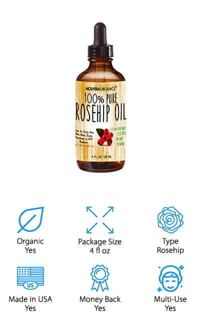 Molivera Organics is another great essential oil company that always delivers quality at a great price. It's some of the freshest rosehip oil on the market right now, and it's free of hexane, preservatives, chemicals, and artificial fragrances. That means that this oil is organic and 100% Vegan as well. This oil has anti-aging properties that can help reduce the appearance of fine lines and wrinkles, as well as encouraging the production of collagen. That's the chemical that gives your skin the supple, soft feeling. It's high in antioxidants and vitamins. One of the best things about this oil is that it's non-greasy for the most part, so it won't leave your skin or hair feeling greasy. It will absorb quickly into your skin and hair in order to bring you the most moisture possible. Your hair and skin are definitely going to thank you for treating it so well when you use this rose oil in your products!