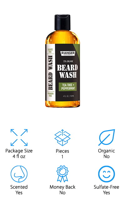 Last but not least is the best all-natural beard wash on our list. Ranger Grooming Co makes this great formula that is 73% organic and completely vegan-friendly. It's made right here in the USA and smells like delicious tea tree and mint, which your' going to love smelling all day. There are no sulfates or parabens, and the wash cleans using rosehip oil and jojoba oil to get a clean finish down to the hair follicles. Plus, it helps to balance your skin's natural pH levels so that you have less dryness and irritation, even under a thick beard. Comb with a boar bristle brush afterward for the best results, and you can use a hydrating balm to finish off. There are so many great ingredients in this mostly-organic beard wash that you are absolutely going to love it. It's good for all skin types and beard types as well, so you can experience the benefits no matter what.