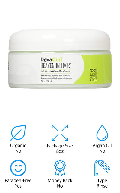 This intense moisture mask from DevaCurl is the first step to getting your curly hair looking and feeling great again. It's free of all sulfates, parabens, and silicones, so right off the bat, you know that it's going to be great for your hair. You only need to put a generous amount on your wet hair and let it sit for about 15 to 30 minutes. Rinse it out and use it a couple of times a week to achieve a silky, manageable look. Your hair is going to thank you for the deep moisturizing treatment! It's great to grab when your curls need hydration fast because it can change how your hair looks and feels in as little as 15 minutes! It's a rich conditioner that gets much-needed moisture right down to the root and follicle to help you detangle and work through your challenging hair. When you need a quick boost of hydration, reach for DevaCurl.