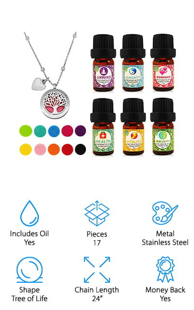 The tree of life is back again in this amazing starter kit from Sense Sation. This is the biggest kit on our list so far and includes six scents and ten different pads so you can change the scent in your fragrance necklace. It also comes with a cute heart charm to place alongside the diffuser on the chain, which is a nice touch. It won't give you a rash, because it's made with hypoallergenic stainless steel. The six scents are Unwind, Serenity, Romance, Health, Vitality, Immunity. These are all blends of several other essential oils, and the different scents are listed so that you can get an idea of the type of smell that you like. This is a nice high-quality necklace that comes with a variety of colors in the felt pads so that you can easily match the outfit you're wearing. This includes purple, pink, blue, tea, green, yellow, pink, orange, red, and black.